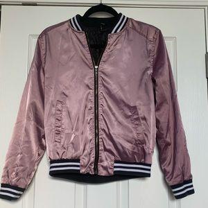Purple varsity style zip up bomber jacket.